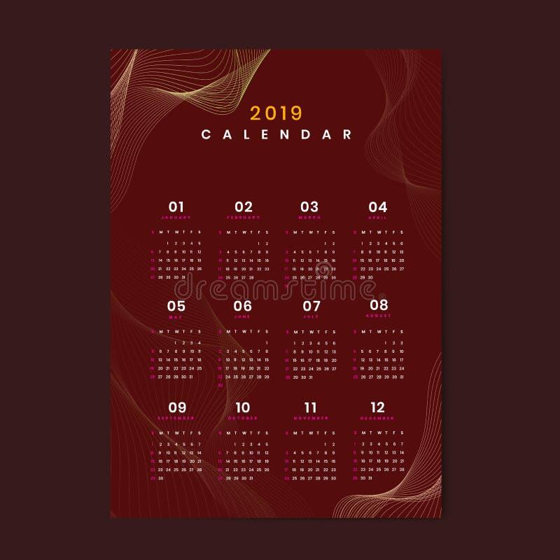 Vector van de bes de rode contour gevormde kalender 2019 royalty-vrije illustratie