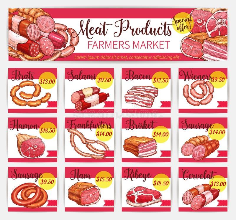 Vector van de de kaartenslachterij van de vleesprijs de marktmalplaatje vector illustratie