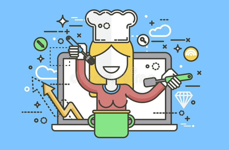 Vector van de de kokvoedingsdeskundige van de illustratiechef-kok de diëtistenvrouw HLS die van de het receptenblog van het oplei royalty-vrije illustratie
