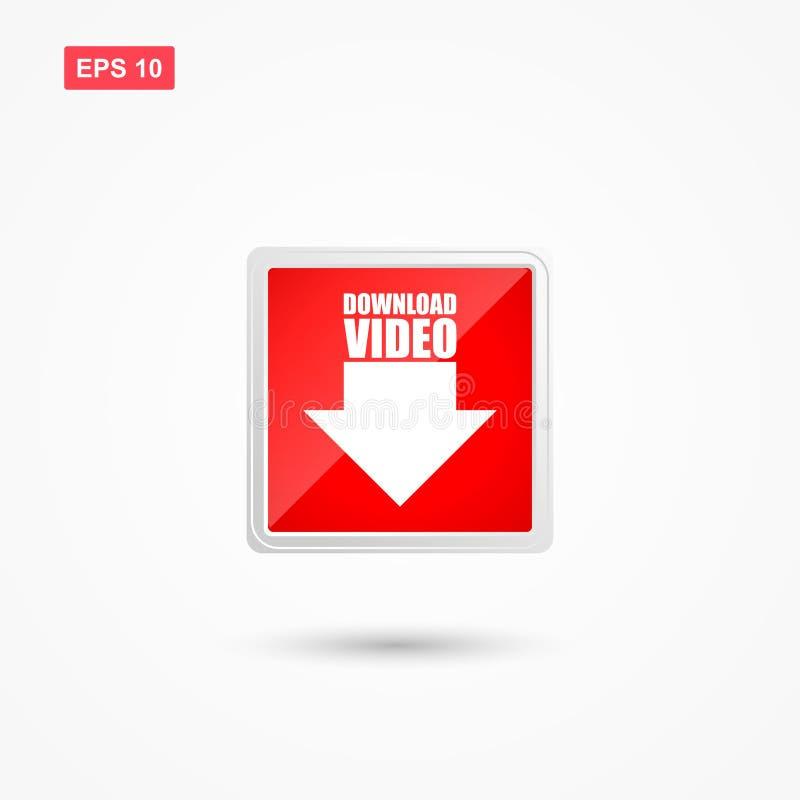 Vector van de download de video rode knoop met pijl vector illustratie