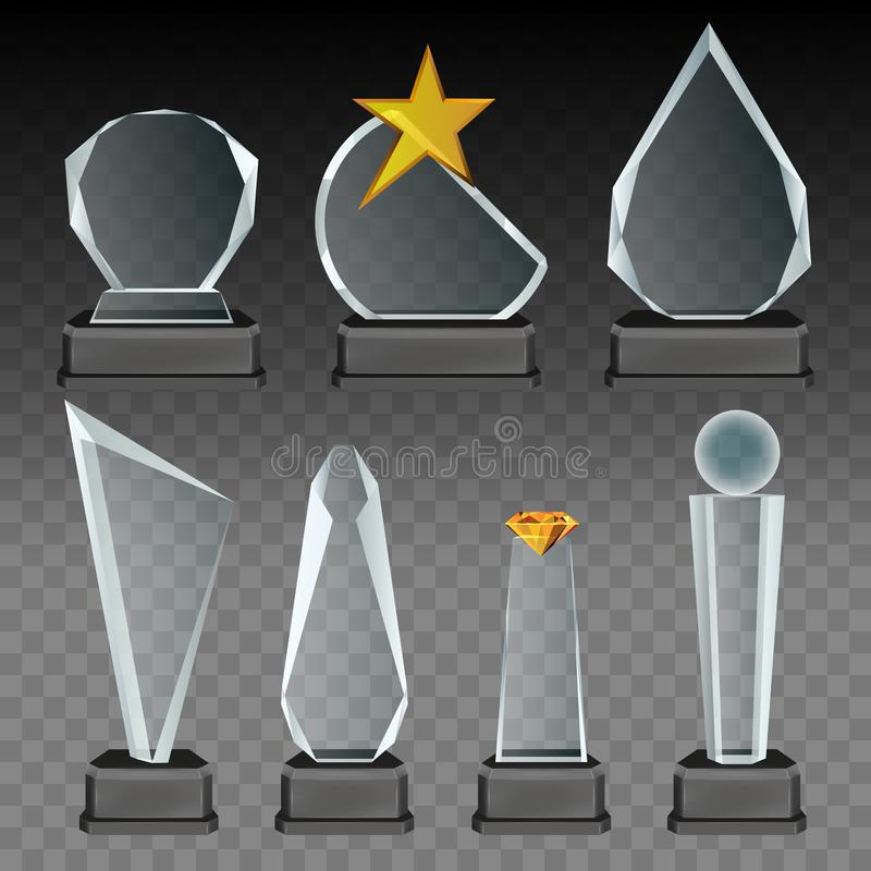 Vector van de glas transparante trofee en toekenning reeks vector illustratie