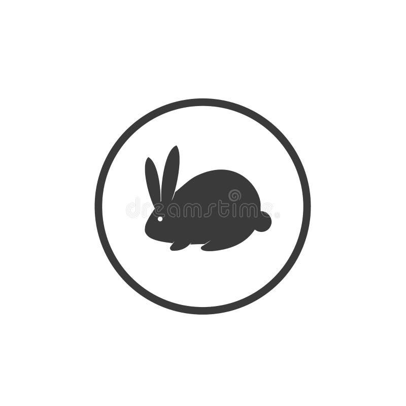 Vector van de de hazenbescherming van het tekenkonijn van het het tekenembleem dierlijke organische het embleemzwarte op witte ac stock afbeelding