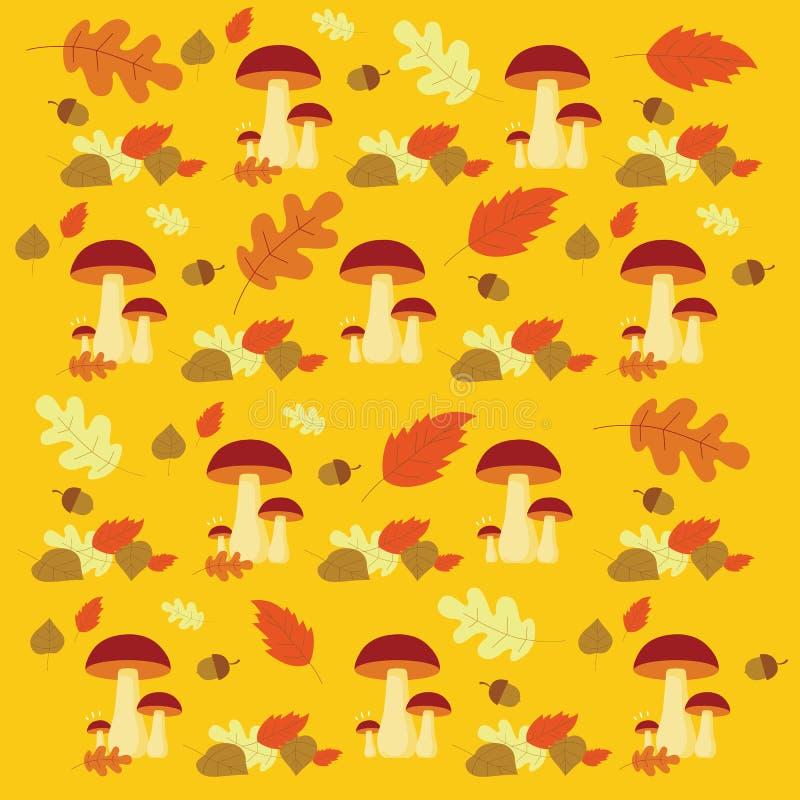 Vector van de Herfst bospaddestoelen en bladeren patroon stock afbeelding