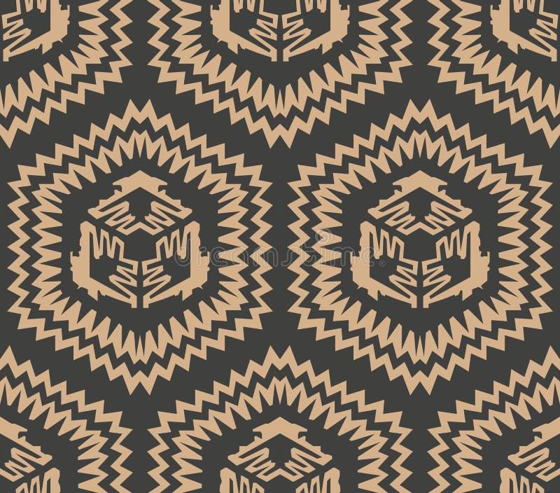 Vector van de van het achtergrond damast naadloos retro patroon de meetkunde dwarskader veelhoekzaagtand Het elegante ontwerp van vector illustratie