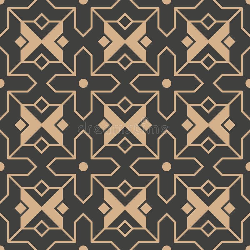Vector van de van het achtergrond damast naadloze retro patroon dwars het kadercaleidoscoop Islamitische stermeetkunde Het elegan royalty-vrije illustratie