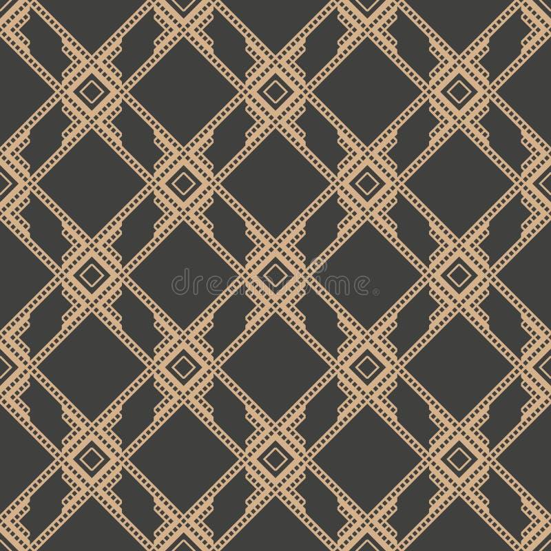 Vector van de van het achtergrond damast naadloze retro patroon dwars het kaderketen inheemse meetkunde vierkante controle Elegan vector illustratie