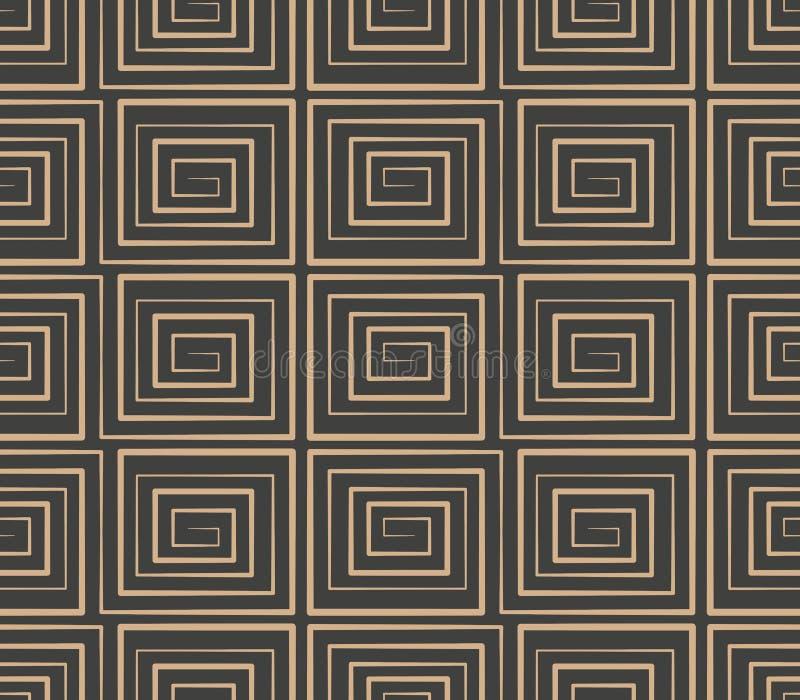 Vector van de van het achtergrond damast naadloze retro patroon dwars het kaderlijn meetkunde spiraalvormige draaikolk Het elegan vector illustratie