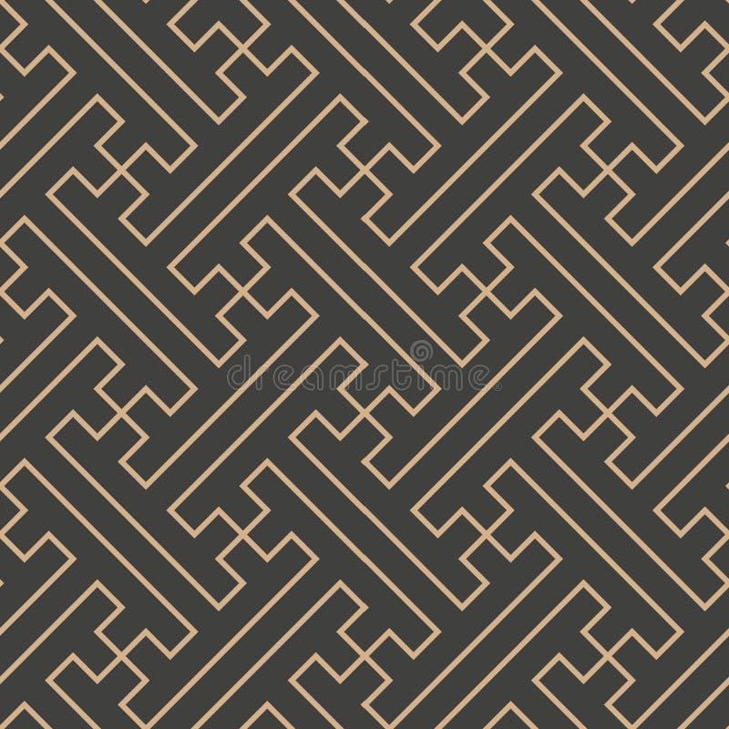 Vector van de van het achtergrond damast naadloze retro patroon dwars spiraalvormige het kaderlijn veelhoek Chinese meetkunde Het royalty-vrije illustratie