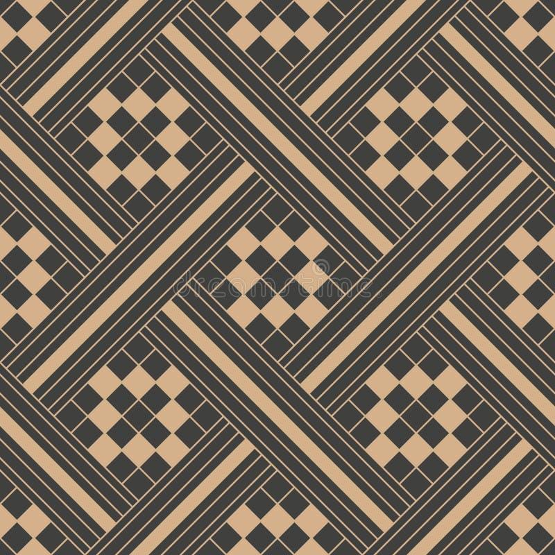 Vector van de van het achtergrond damast naadloze retro patroon het kadercaleidoscoop meetkunde spiraalvormige dwars vierkante co stock illustratie