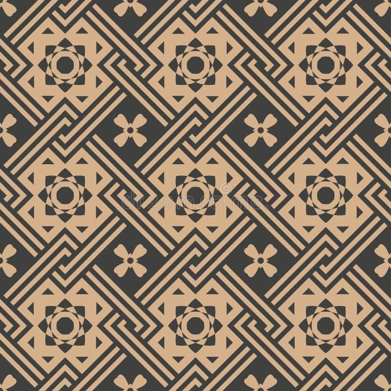 Vector van de van het achtergrond damast naadloze retro patroon het kaderketen controle vierkante meetkunde dwarssterbloem Elegan royalty-vrije illustratie