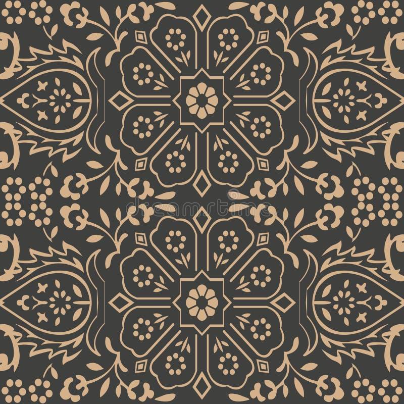 Vector van de van het achtergrond damast naadloze retro patroon het kaderketen meetkunde dwarsveelhoek bladbloem Het elegante ont royalty-vrije illustratie