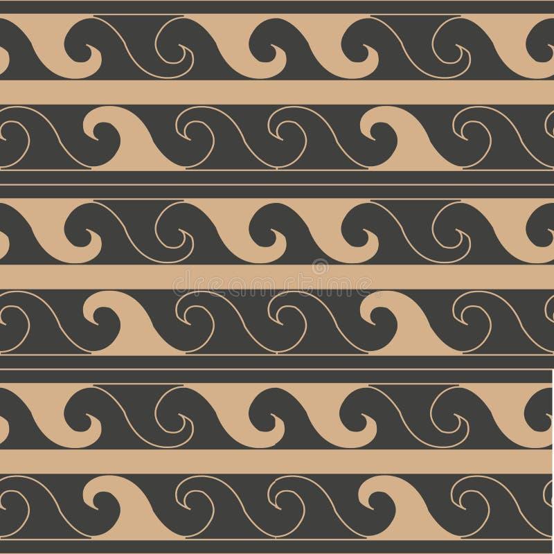 Vector van de van het achtergrond damast naadloze retro patroon het kaderlijn spiraalvormige draaikolk dwarsgolf Het elegante ont stock illustratie