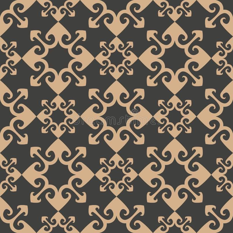 Vector van de van het achtergrond damast naadloze retro patroon de meetkunde dwarscaleidoscoop krommepijl Het elegante ontwerp va royalty-vrije illustratie