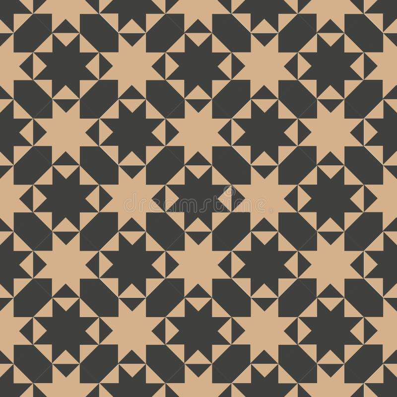 Vector van de van het achtergrond damast naadloze retro patroon de meetkunde dwarscaleidoscoop sterveelhoek Het elegante ontwerp  vector illustratie