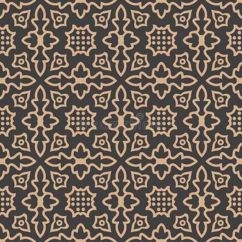 Vector van de van het achtergrond damast naadloze retro patroon van het de meetkunde dwarskader krommepunt de lijncaleidoscoop He royalty-vrije illustratie
