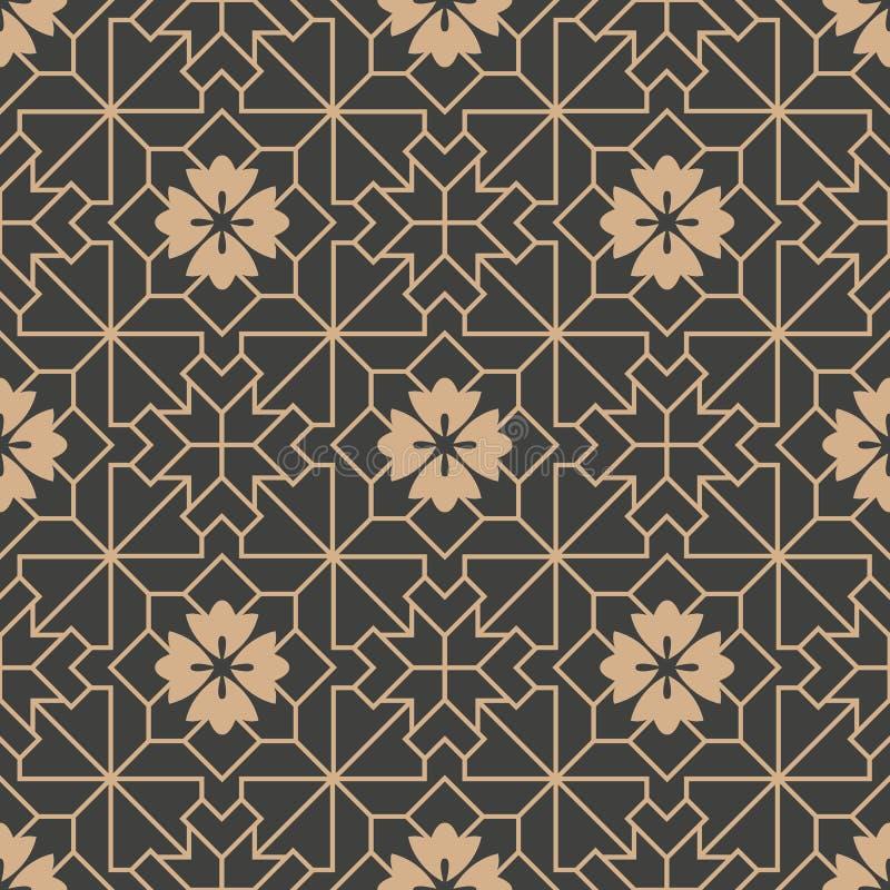 Vector van de van het achtergrond damast naadloze retro patroon van het de meetkunde dwarskader veelhoekster de lijnbloem Het ele stock illustratie