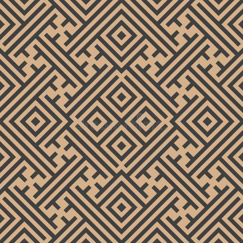 Vector van de van het achtergrond damast naadloze retro patroon van het het roosterkader controle vierkante meetkunde dwarstracer royalty-vrije illustratie