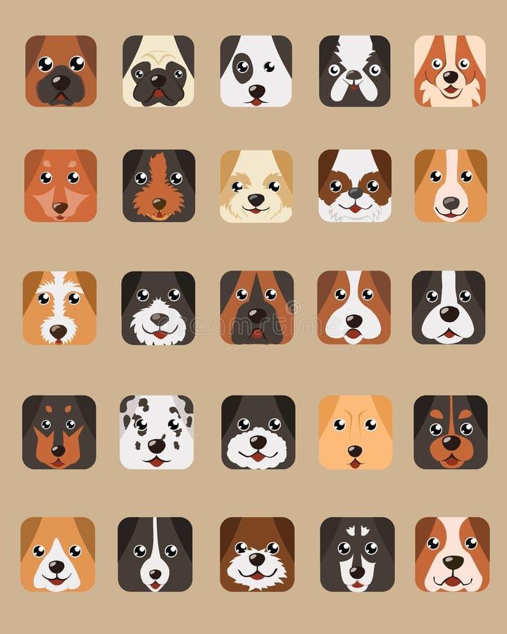 Vector van de het Ontwerpkubus van hond de Hoofdbeeldverhalen vector illustratie