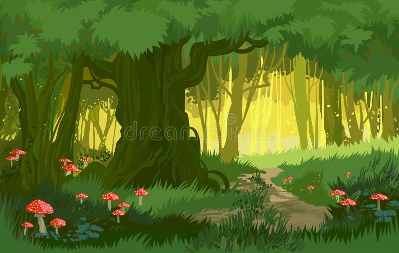 Vector van de illustratie heldergroene zomer magische bos vectorpaddestoelen als achtergrond royalty-vrije illustratie