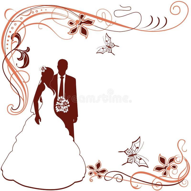 Uitnodiging met het paar van het Huwelijk vector illustratie