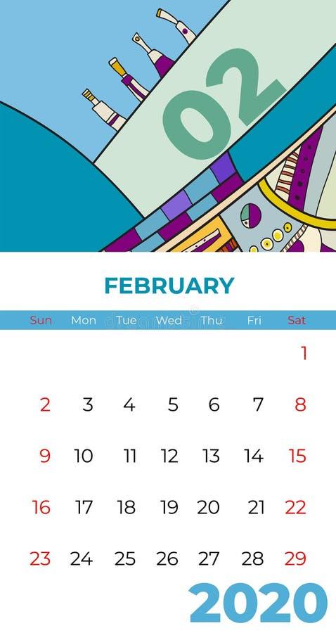 vector van de de kalender de abstracte eigentijdse kunst van februari van 2020 Bureau, het scherm, kleurrijke Desktopmaand 02,202 stock illustratie