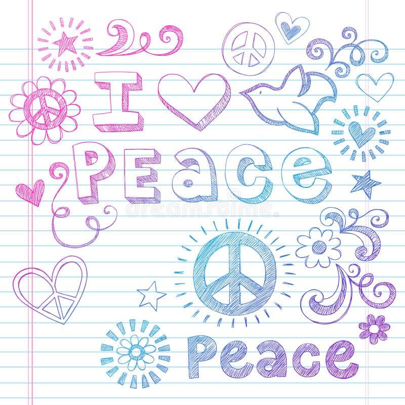Vector van de Krabbels van de Liefde en van de Duif van de vrede de Schetsmatige vector illustratie