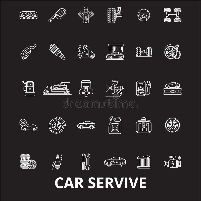 Vector van de lijnpictogrammen van de autodienst de editable die op zwarte achtergrond wordt geplaatst Witte het overzichtsillust royalty-vrije illustratie