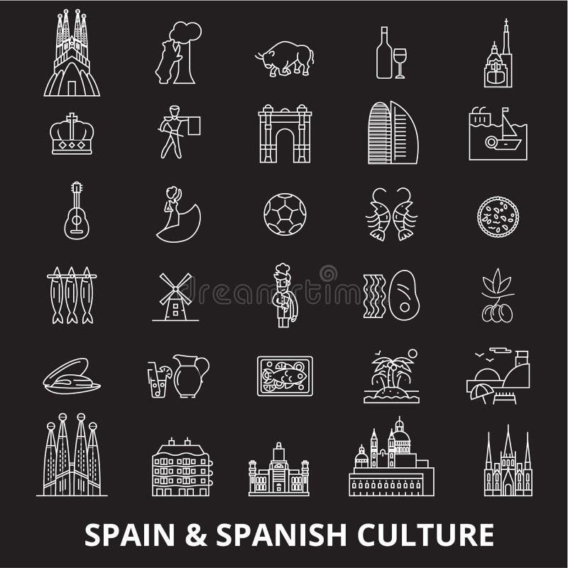 Vector van de lijnpictogrammen van Spanje de editable die op zwarte achtergrond wordt geplaatst Witte het overzichtsillustraties  vector illustratie