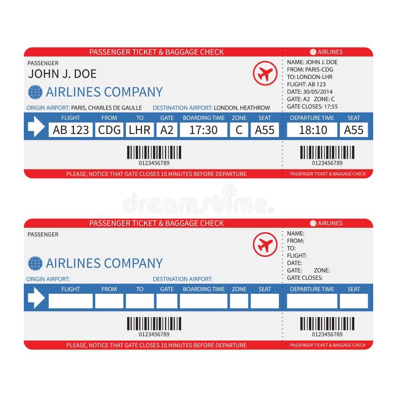 Vector van de luchtvaartlijnpassagier en bagage (instapkaart) kaartjes met streepjescode royalty-vrije illustratie