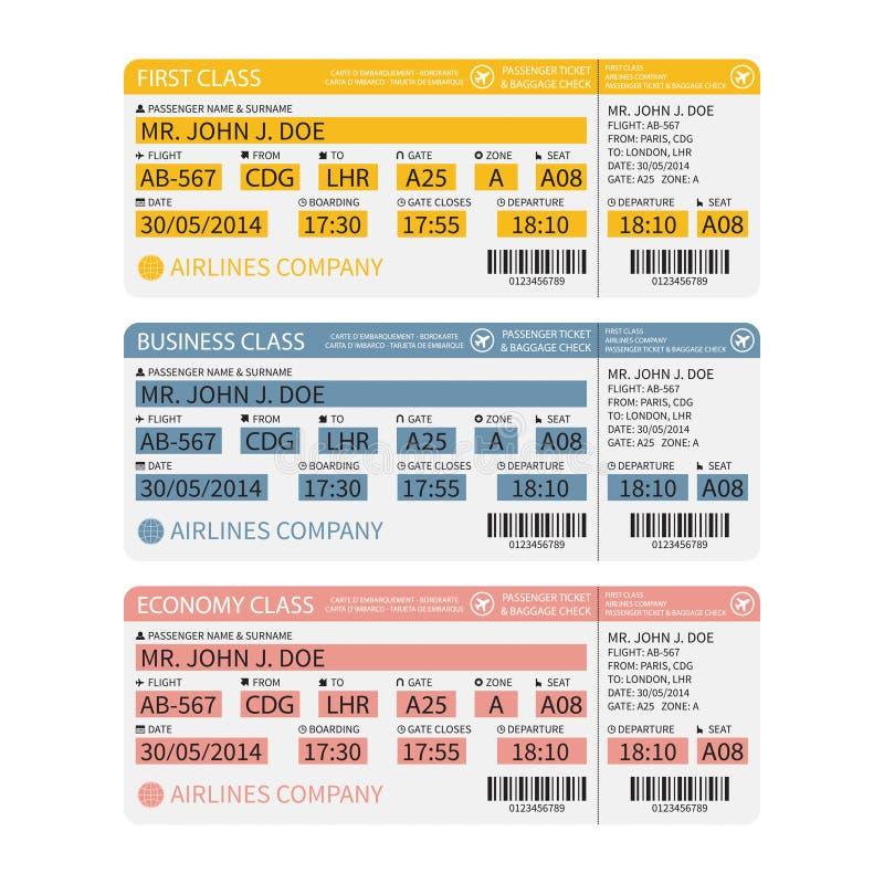 Vector van de luchtvaartlijnpassagier en bagage (instapkaart) kaartjes met streepjescode stock illustratie