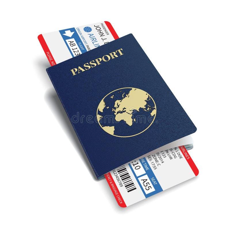 Vector van de luchtvaartlijnpassagier en bagage (instapkaart) kaartjes met streepjescode en internationaal paspoort royalty-vrije illustratie