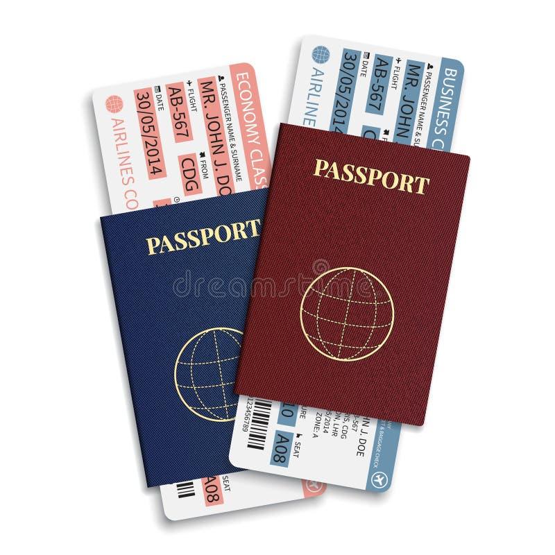 Vector van de luchtvaartlijnpassagier en bagage (instapkaart) kaartjes met streepjescode en internationaal paspoort stock illustratie