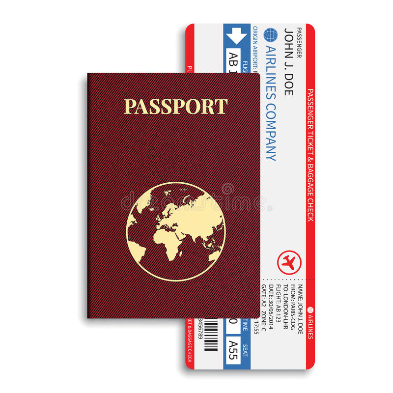 Vector van de luchtvaartlijnpassagier en bagage (instapkaart) kaartjes met streepjescode en internationaal paspoort vector illustratie
