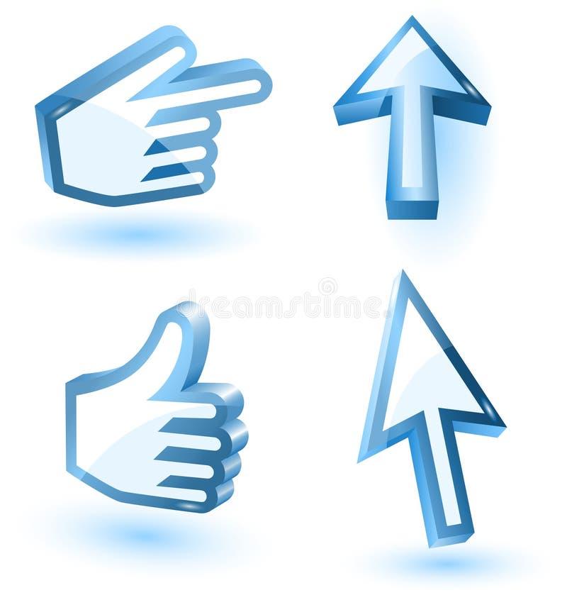 Vector van de muispijl en hand wijzers royalty-vrije illustratie