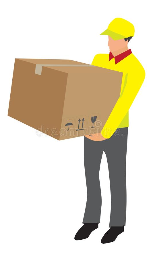 Vector van de opheffende doos van de leveringsarbeider vector illustratie