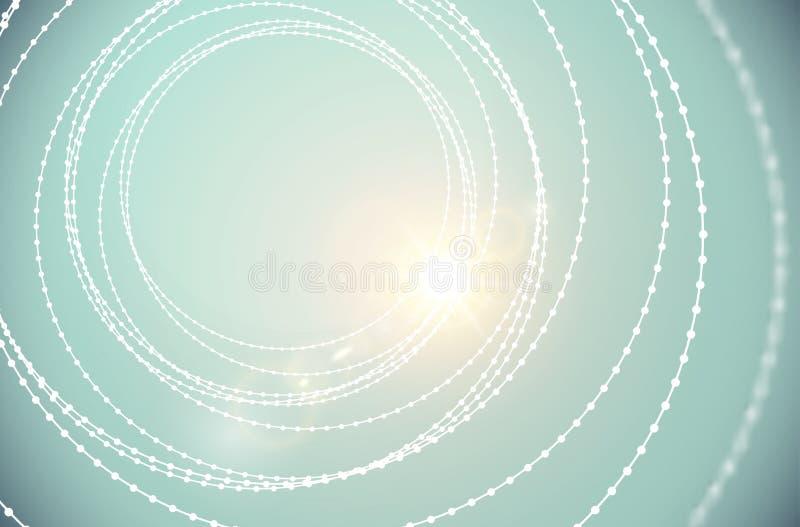 Vector van de de parels spiraalvormige structuur van de tunneldraad van de de lensgloed glanzende het lichteffectachtergrond De a royalty-vrije illustratie