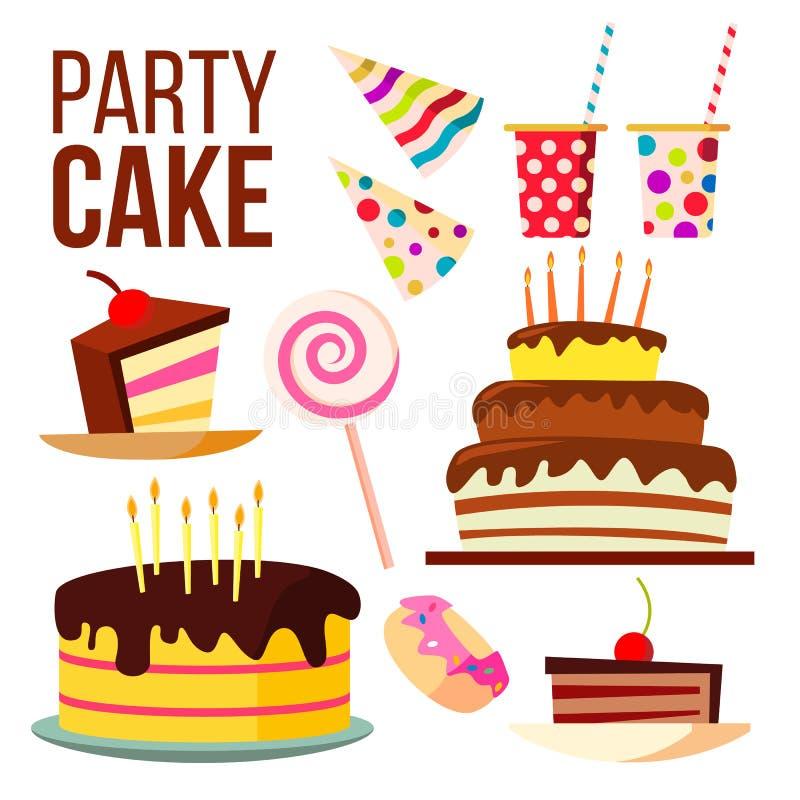 Vector van de partij de Zoete Cake Grote Vieringscake Feestelijk, Vakantie, het Element van het Verjaardagsontwerp Geïsoleerde be vector illustratie