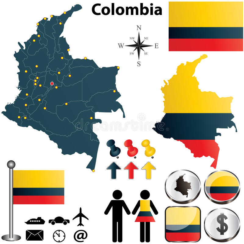 De kaart van Colombia vector illustratie