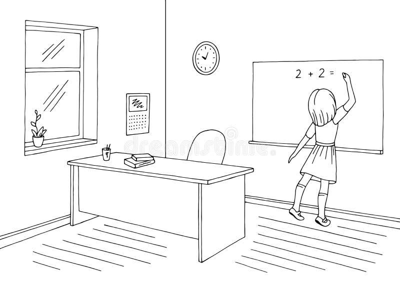 Vector van de de schetsillustratie van de klaslokaal de grafische zwarte witte school binnenlandse Het meisje schrijft op het bor vector illustratie
