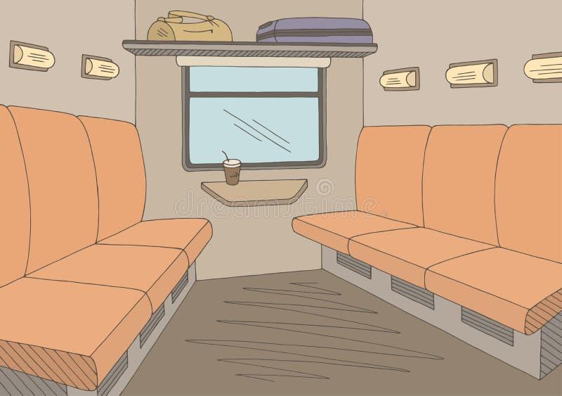 Vector van de de schetsillustratie van de trein de binnenlandse grafische kleur stock illustratie