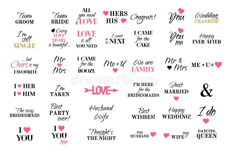 Vector van de de typografieinzameling van de huwelijkskalligrafie het huwelijksreeks vector illustratie