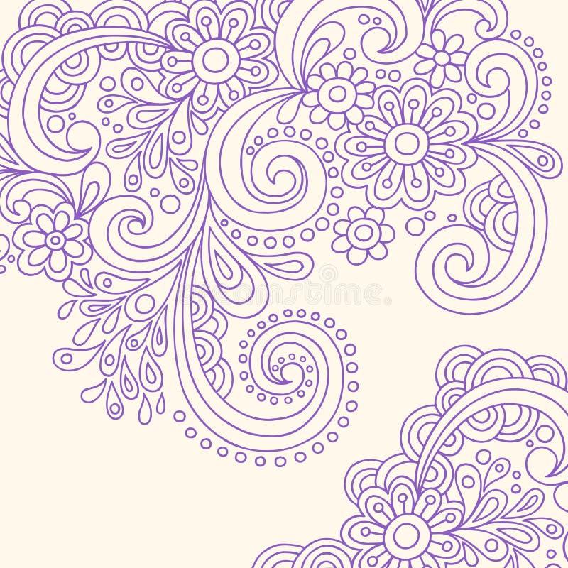 Vector van de Wervelingen van de Henna van de krabbel de Abstracte stock illustratie