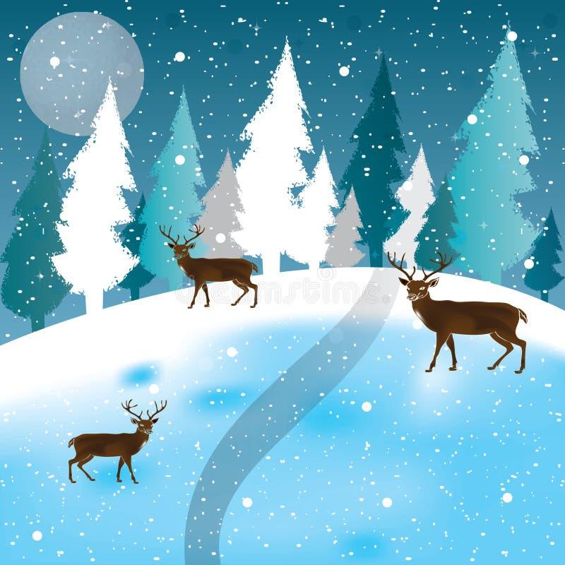 Vector van de winterscène, witte sneeuw en blauwe hemel royalty-vrije illustratie