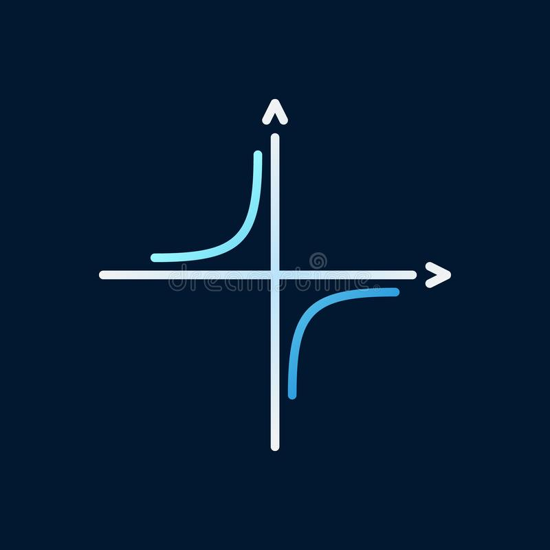 Vector van de wiskunde kleurde de Gecoördineerde As lineair pictogram stock illustratie