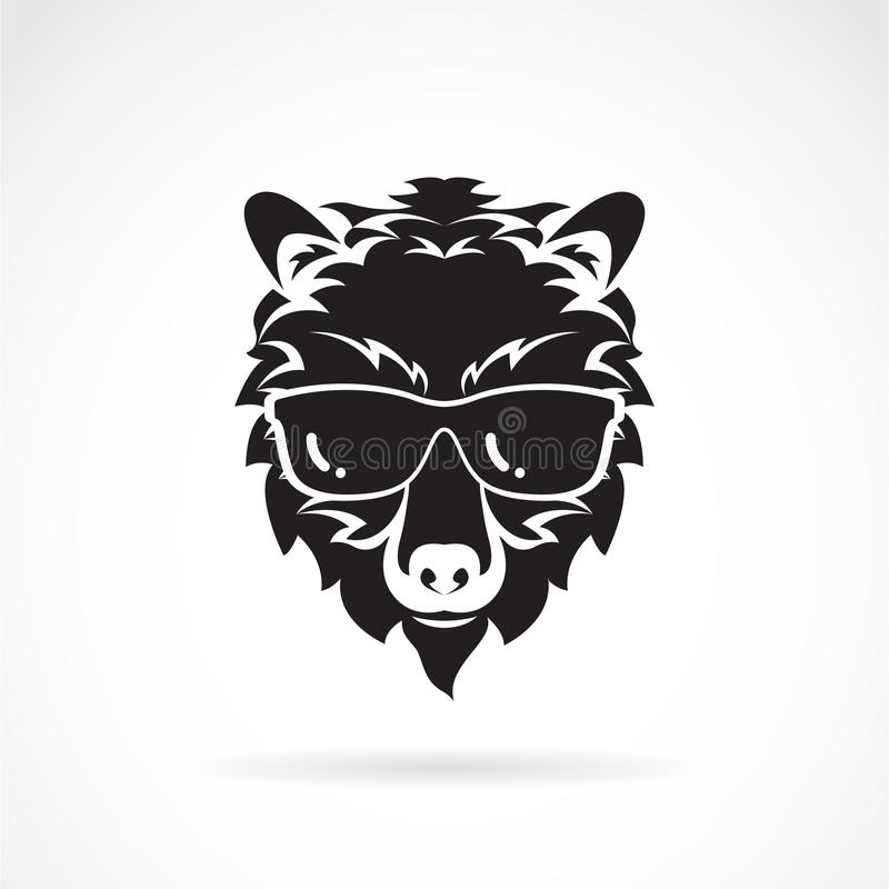 Vector van de zonnebril van de beerslijtage op witte achtergrond Wilde dieren Draag manier Gemakkelijke editable gelaagde vectori royalty-vrije illustratie