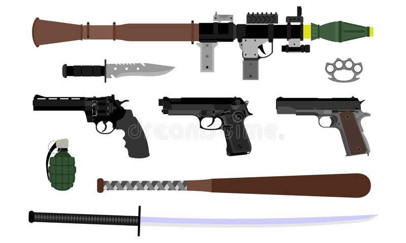 Vector van diverse wapens royalty-vrije illustratie