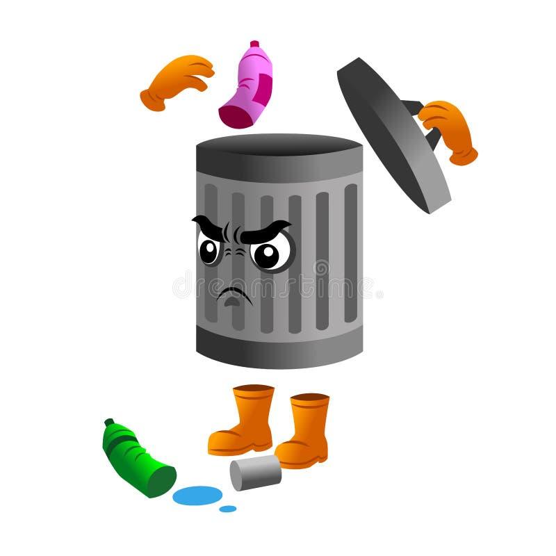 Vector van Dumpster, herinnering om huisvuil in juiste plaats te werpen vector illustratie
