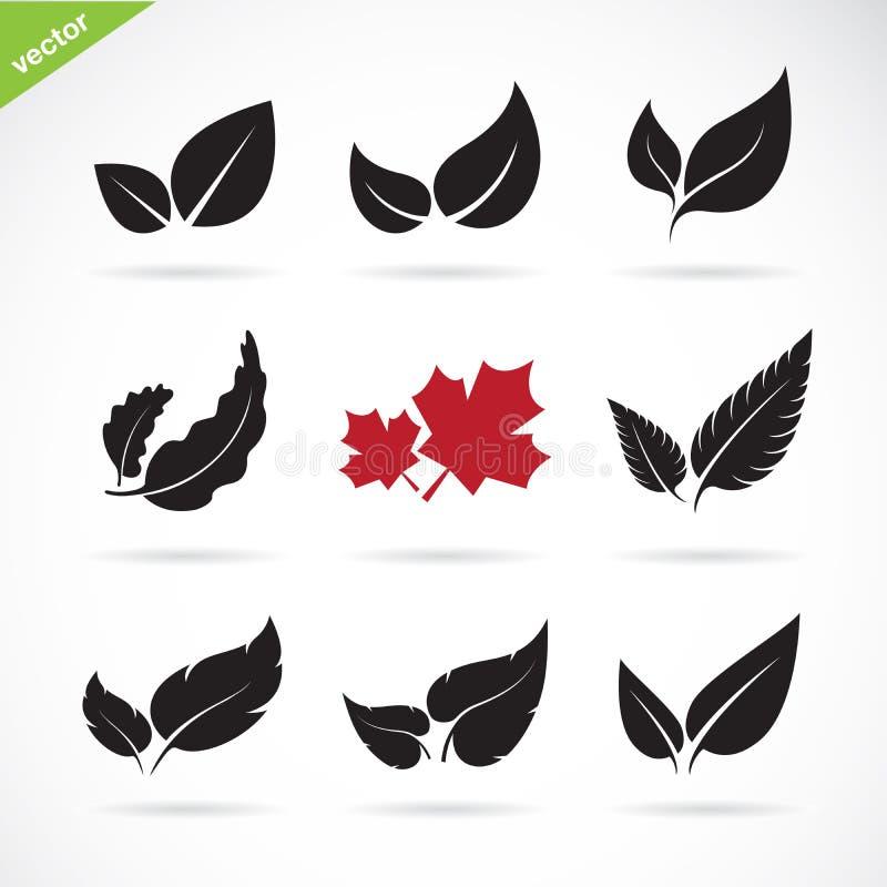 Vector van een bladerenpictogram op witte achtergrond wordt geplaatst die stock illustratie