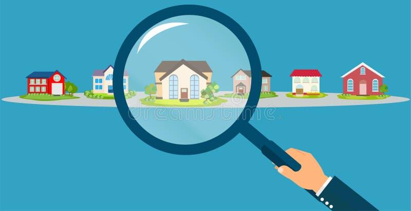 Vector van een de holdingsvergrootglas die van de zakenmanhand naar de beste overeenkomst van het onroerende goederenhuis zoeken vector illustratie