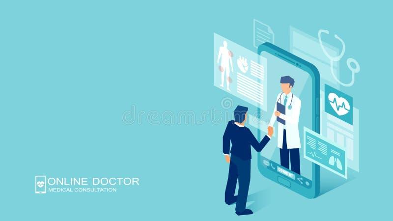 Vector van een geduldige vergadering een arts die online een smartphonetechnologie gebruiken stock illustratie
